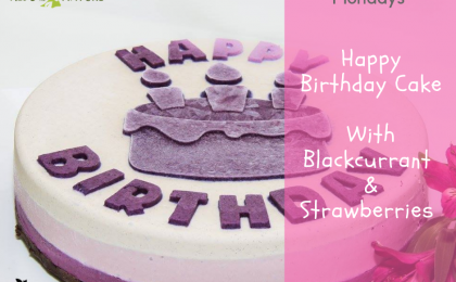 Recipe for Happy Birthday Raw Vegan Cake With Blackcurrant & Strawberries